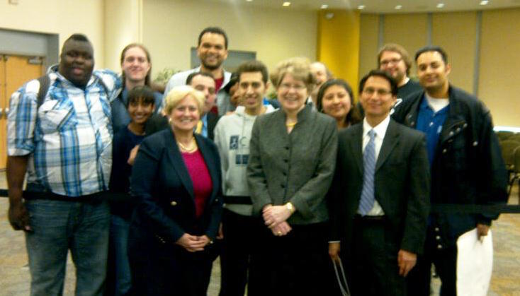 Photo of students (with others) who demonstrated in favor of Pathways at the April 30, 2012 Board of Trustees meeting